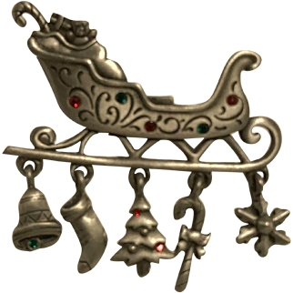 Jeweled JJ Jonette Jewelry Santa's Sleigh Christmas Pin With Dangling Jeweled Xmas Tree, Candy Cane, Bell, Stocking, Ornament!