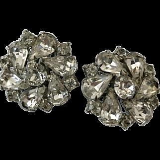 Weiss Jeweled Earrings. Vintage Ear Clips, Rhinestones, tear drop shaped