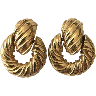 Signed Kenneth Lane Designer Heavy Door Knocker Goldtone Earrings