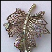 Trifari Jeweled Leaf Brooch