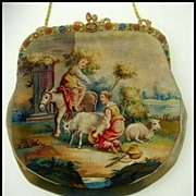 Spectacular Figural Scenic Tapestry Purse