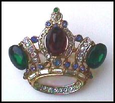 Coro Pegasus Crown Jeweled Brooch