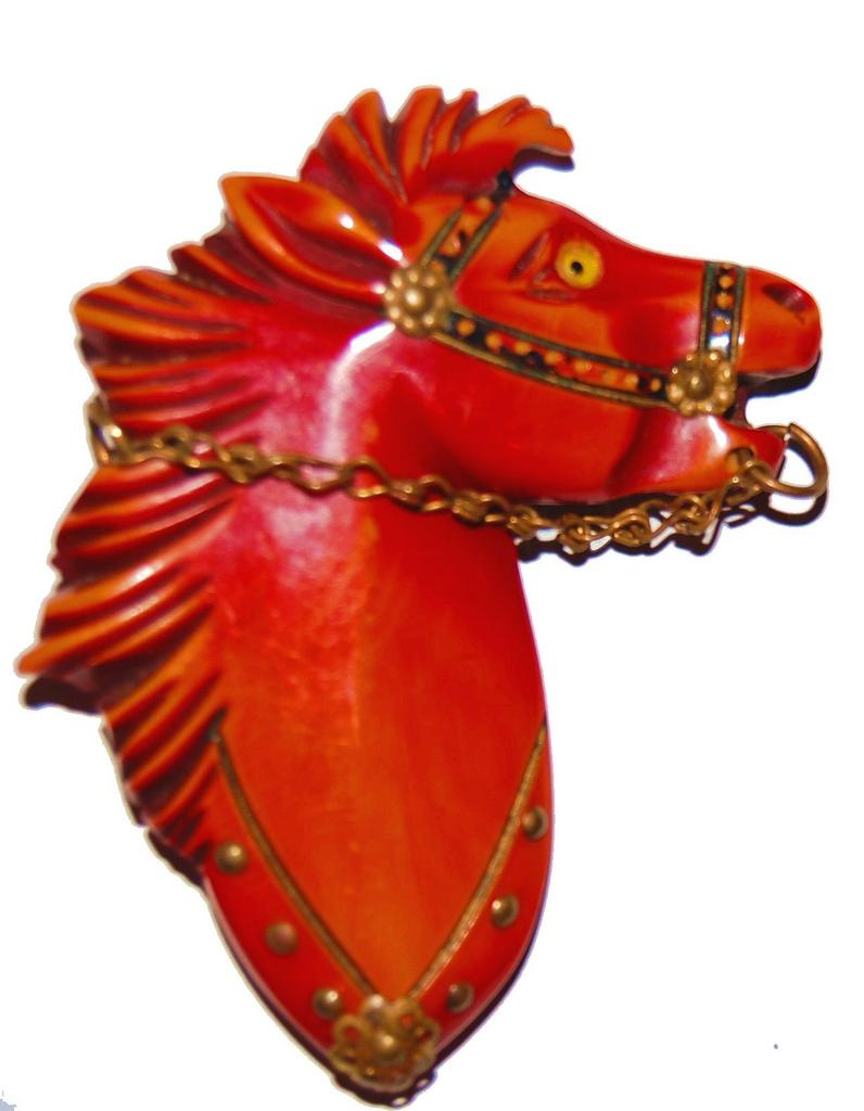 Fierce Bakelite Horse Head Brooch