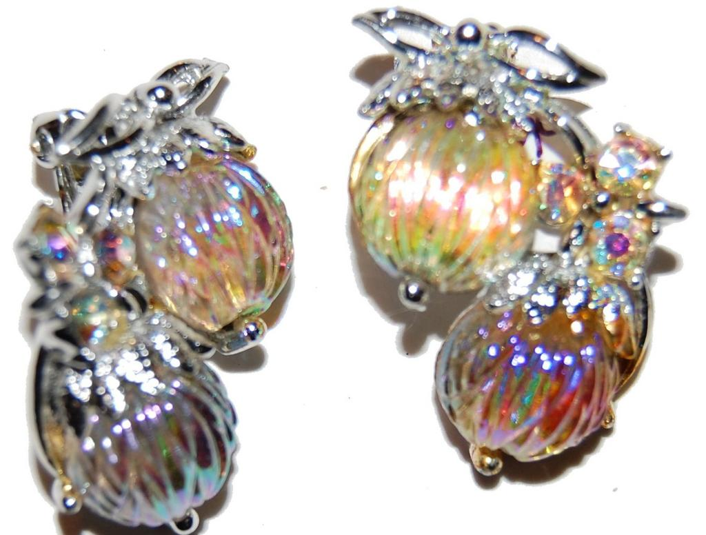 Carved Art Glass Iridescent Earrings