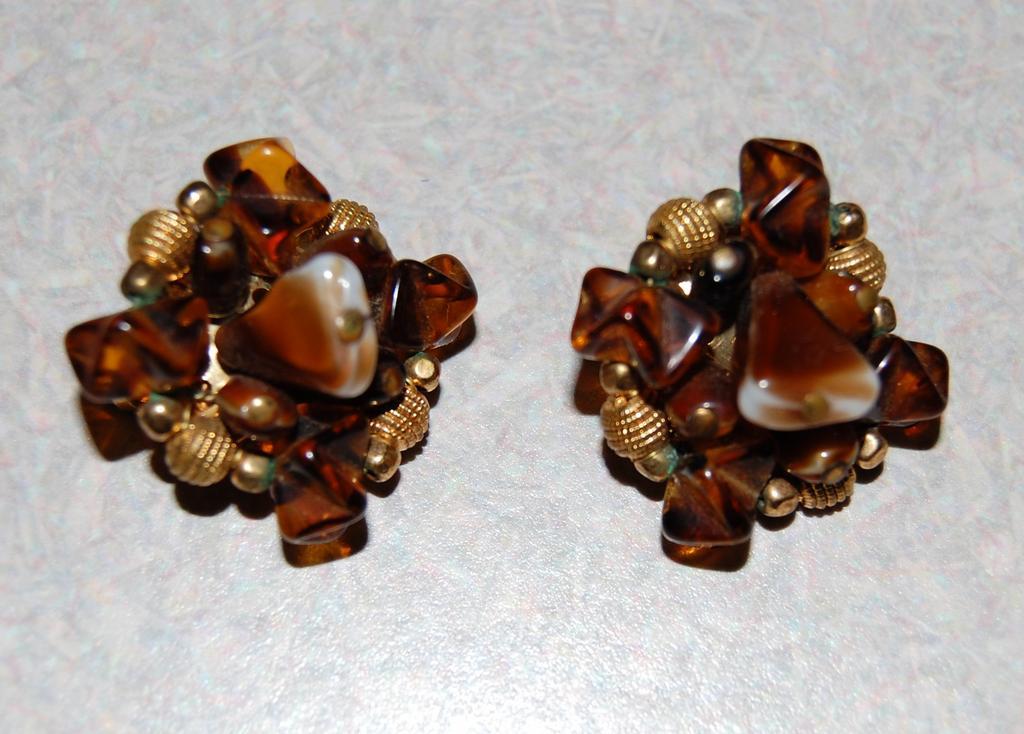 Hattie Carnegie Signed Vintage Earring Clusters