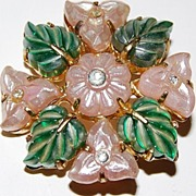 Vintage Czechoslovakia Molded Glass Flower Brooch