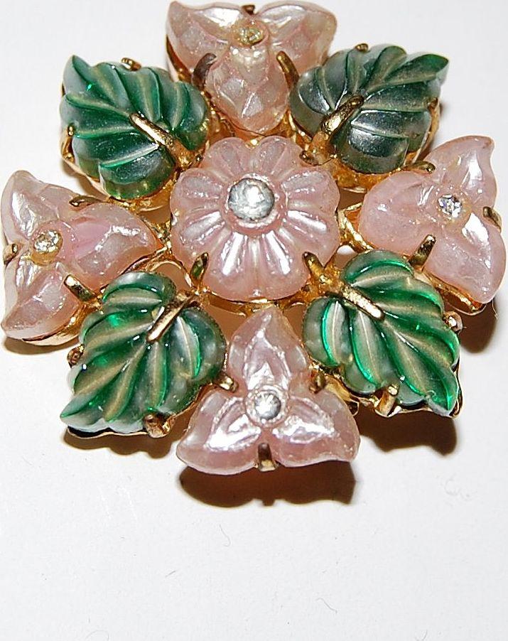 Vintage Czechoslovakia Molded Glass Flower Brooch