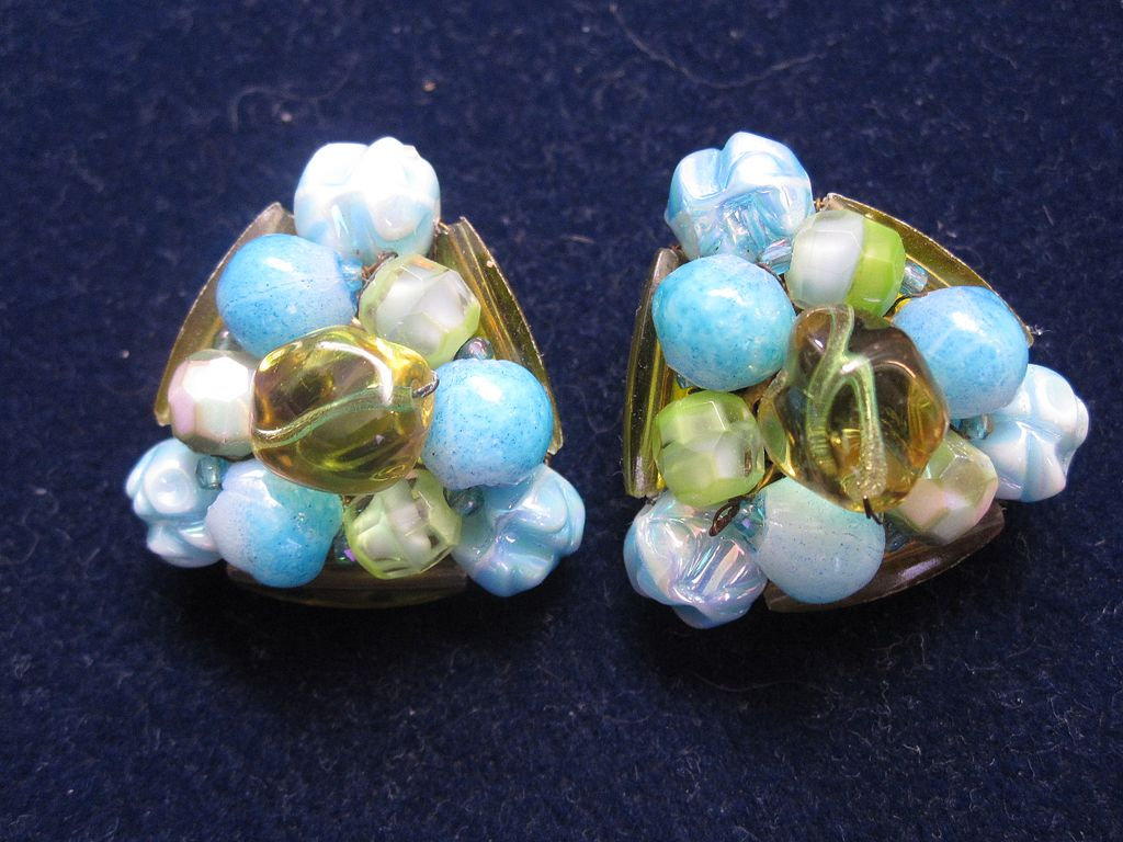 Signed Schiaparelli art glass bead earrings