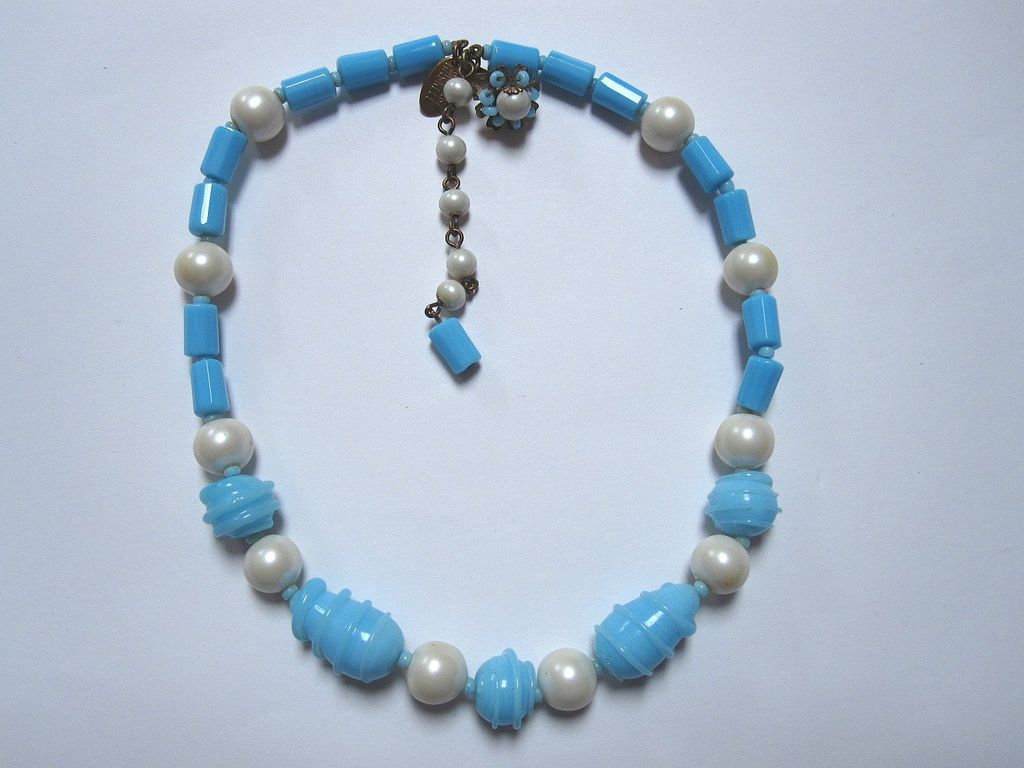 Miriam Haskell pearl and Art Glass Necklace