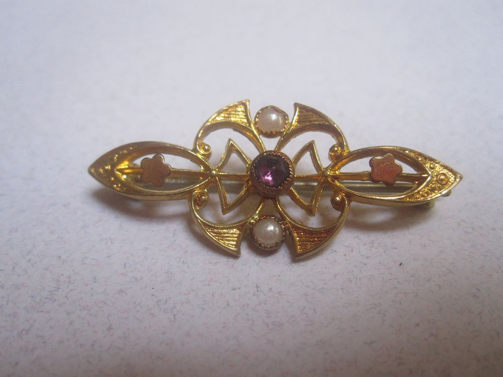 Store Stock before 1925 purple stone jeweled vintage jewelry pin