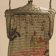 Castle scenic enameled mesh purse by Whiting and Davis