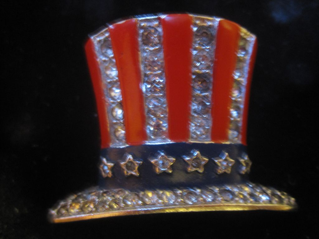 Trifari Uncle Sam Patriotic USA hat pin