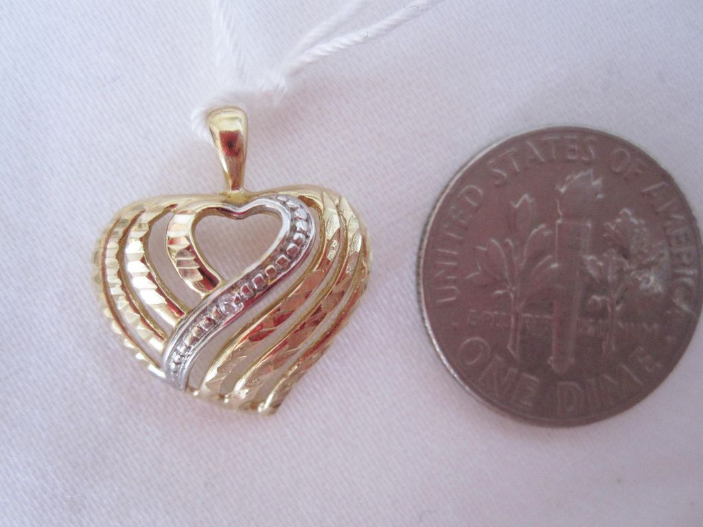 14K yellow & white gold diamond heart for charm or necklace