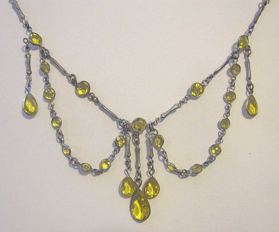Dripping bezel set open backed crystal Deco Necklace