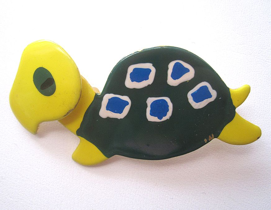 Cute and Frumpy enameled Czech Turtle Pin