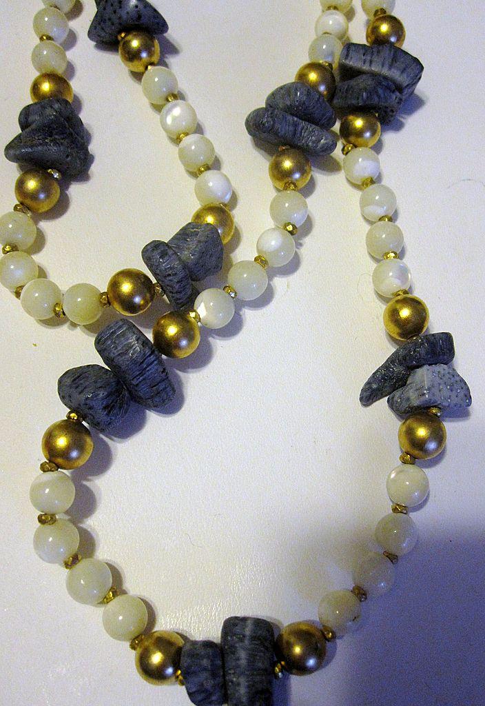 Unusual Miriam Haskell Lava Rock Moonstone Necklace