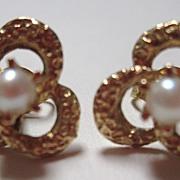 Vintage 14K Gold Pearl Earrings