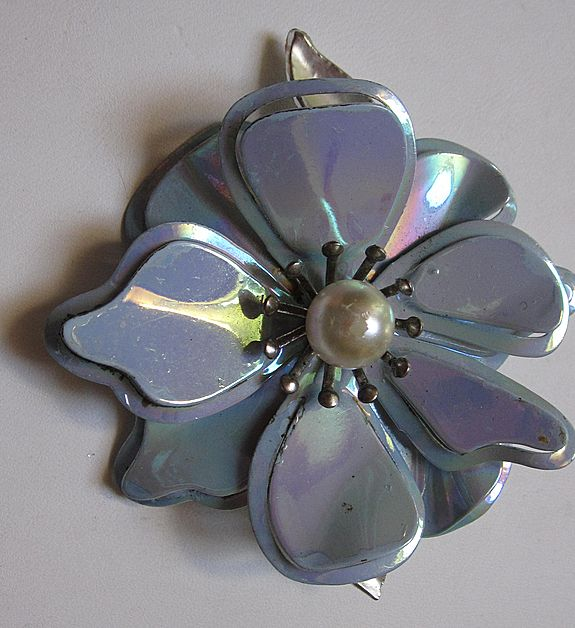 Big  Powder Blue Iridescent Flower Brooch