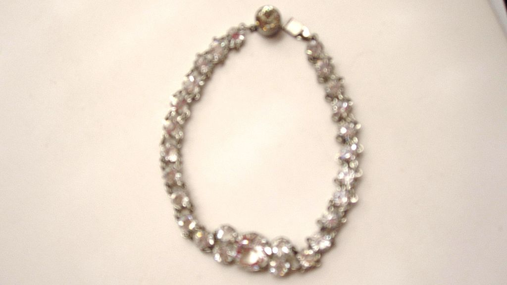 Vintage Bezel set crystal glass bracelet