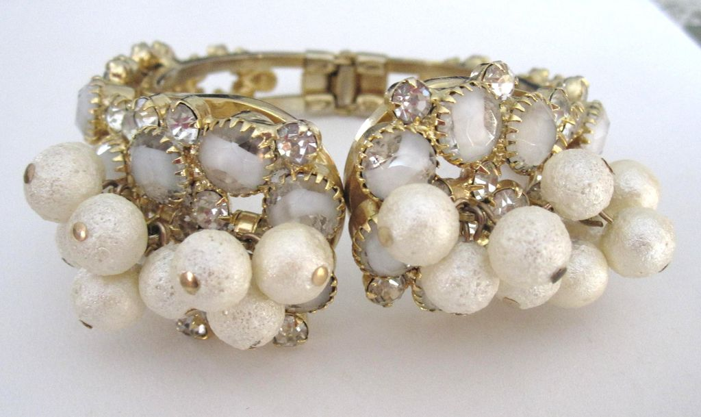 Juliana dripping Pearl hinged bracelet
