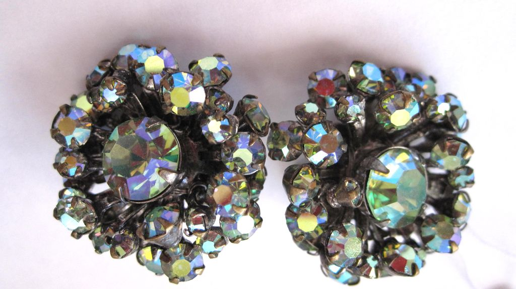 Sparkling Aurora Borealis Miriam Haskell earrings