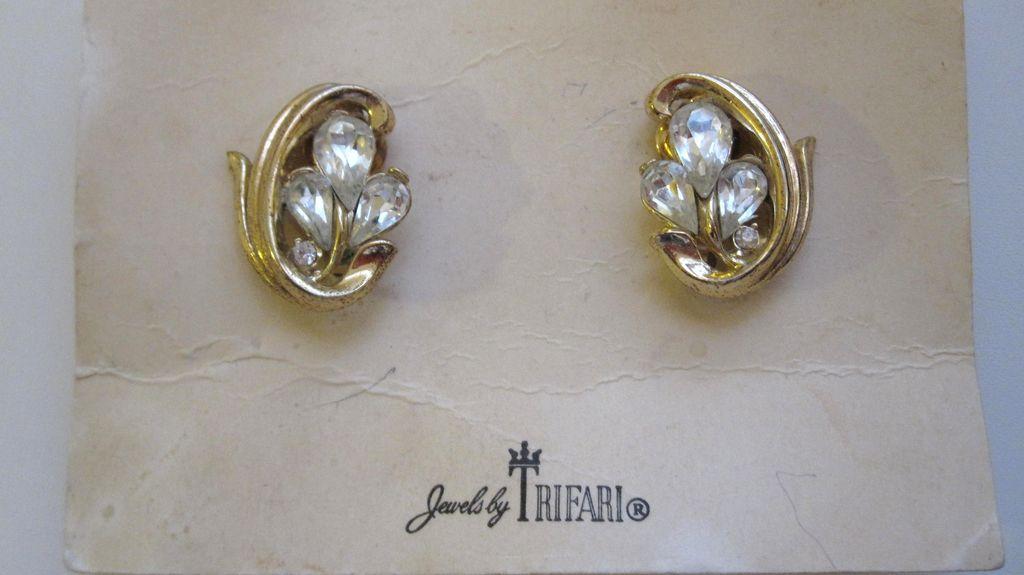 Trifari Rhinestone Earrings, Original Card and Tag