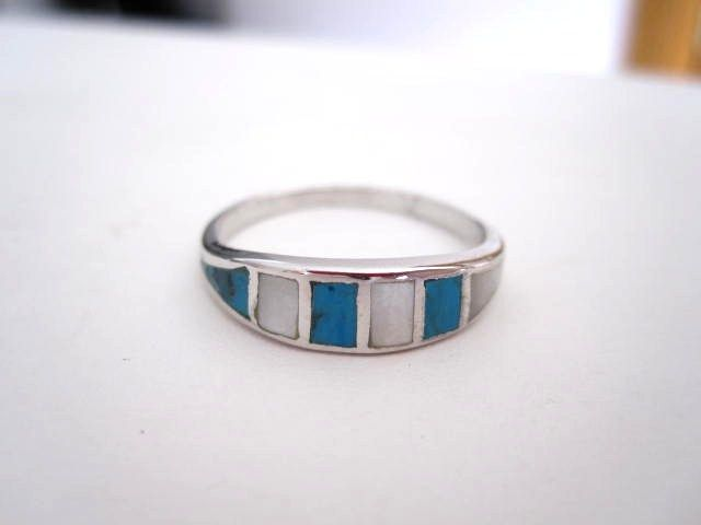 Vintage Turquoise & Mother of Pearl Sterling Rings Old Store Stock!