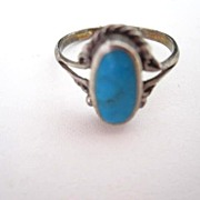 Fancy Vintage Oval Turquoise Sterling Silver Store Stock Ring