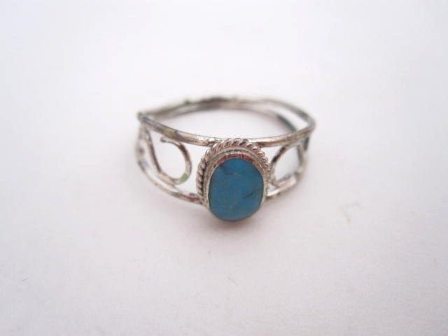 Vintage Turquoise Sterling Silver Fancy Band Rings, Priced to move!