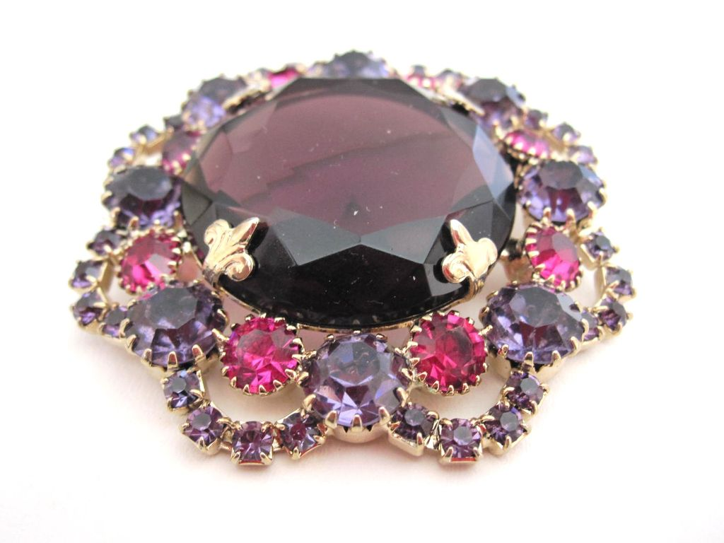 Huge Center Stone Pin With Ornate Prong Settings