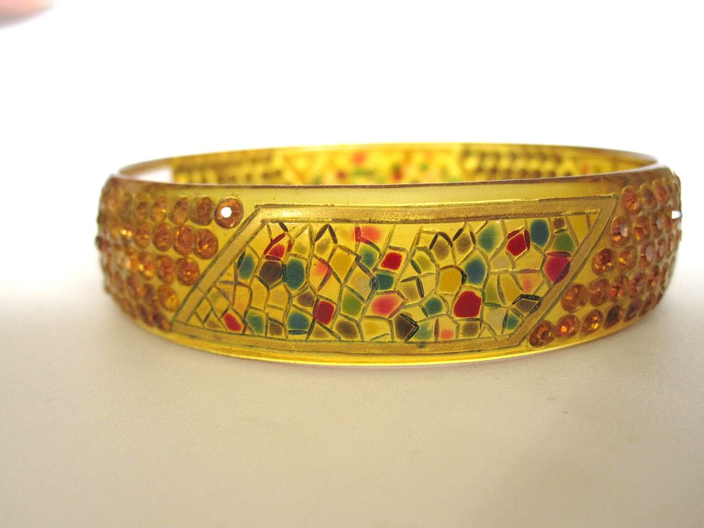1920s Rare Mosaic Hand Painted Jeweled Celluloid Bracelet
