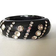 Patterned Black Rhinestone Clamper Bracelet