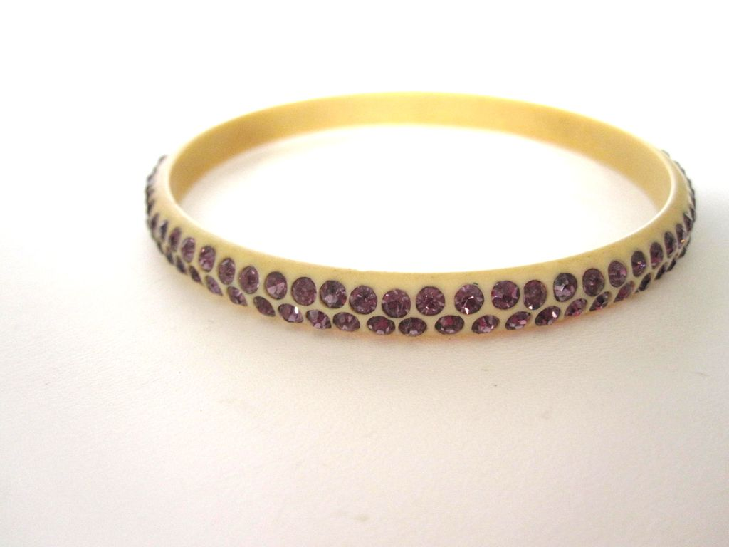 Purple Celluloid Rhinestone Bracelet 1920s