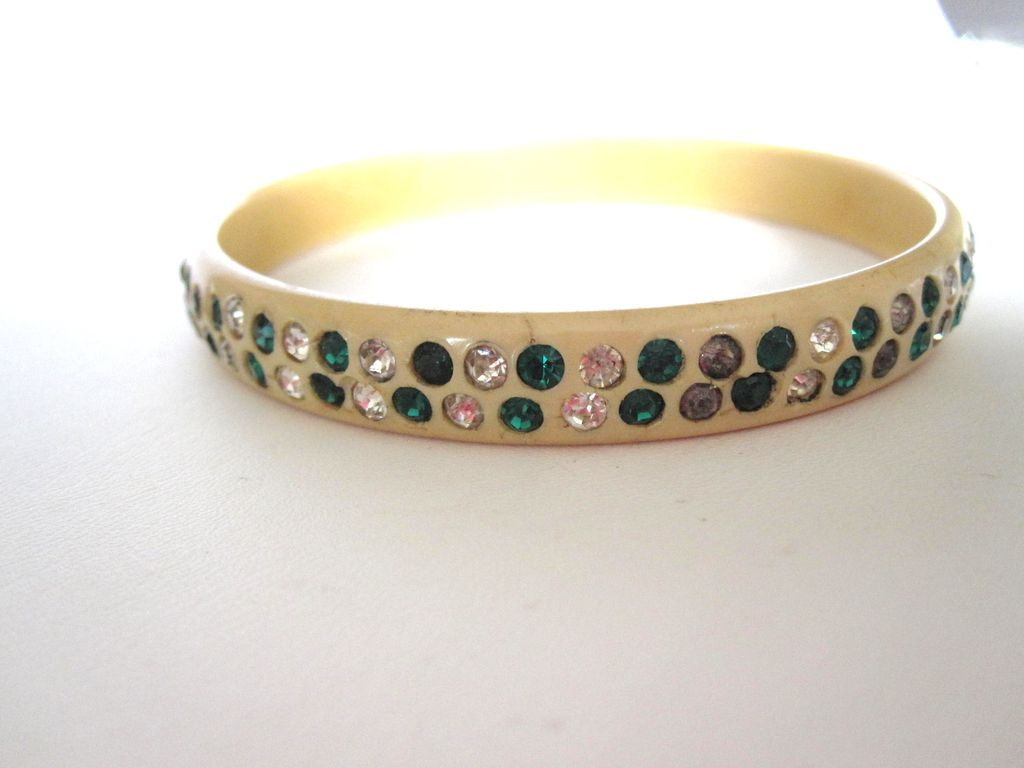 Green Celluloid Rhinestone Bracelet 1920s With Pattern