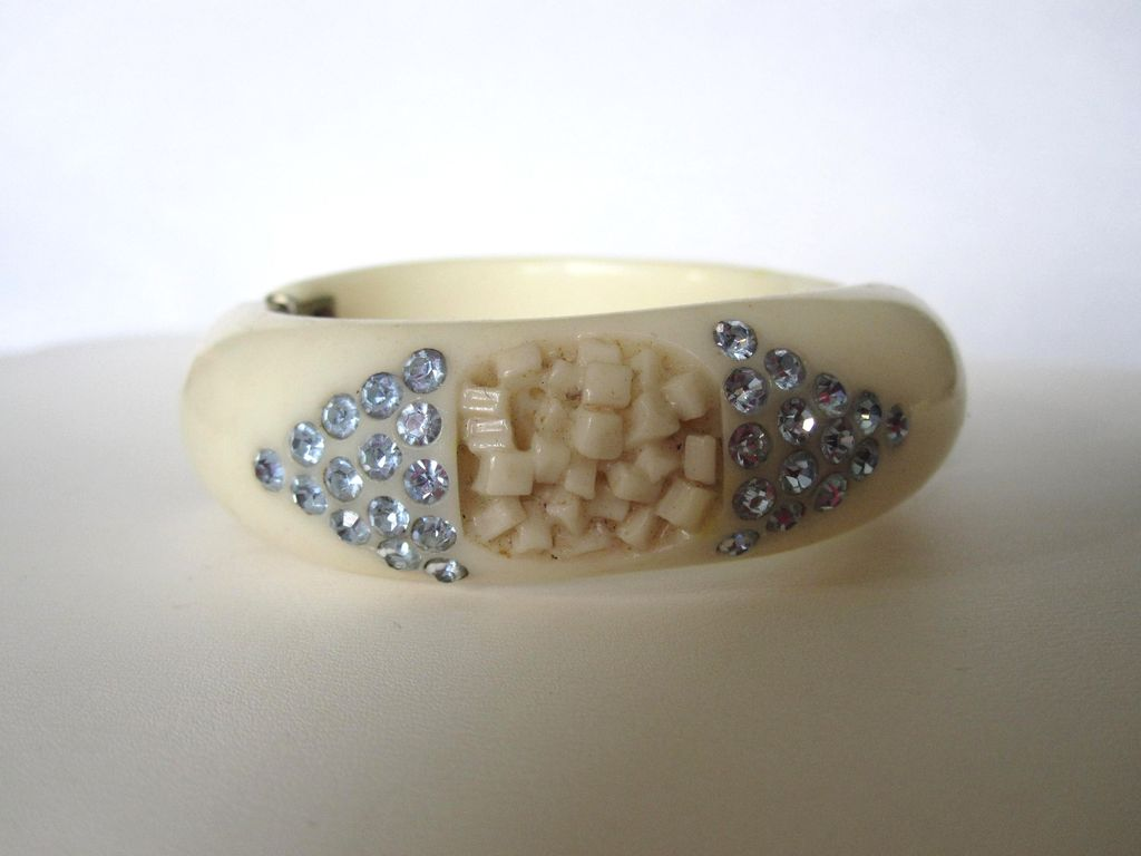 Carved Hinged Bracelet with Blue Diamond Rhinestones