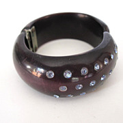 Black Hinged Front Opening Jeweled Bracelet