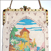 Fine Glass Beaded Figural Scenic Purse
