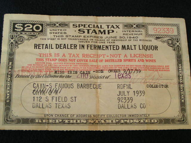 1939 Liquor Tax Stamp; Dallas TX BBQ