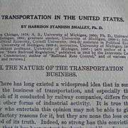 """Transportation in the U.S.""; railroads and more; 1911 First Edition; RARE volume"