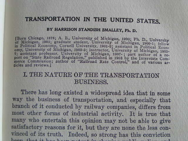 """""""Transportation in the U.S.""""; railroads and more; 1911 First Edition"""