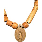 Infant of Prague medallion; vintage bronze