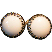 Miriam Haskell White Cabochon screw back Earrings
