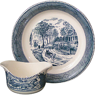 Currier & Ives dishes: Pie plate, Sauce / gravy boat