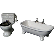 Dollhouse bathroom fixtures; miniature bathtub, commode