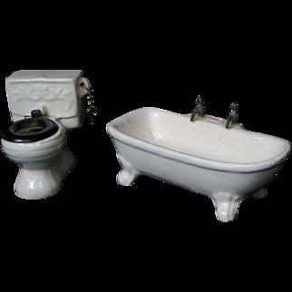 Dollhouse bathroom fixtures; miniature bathtub, commode