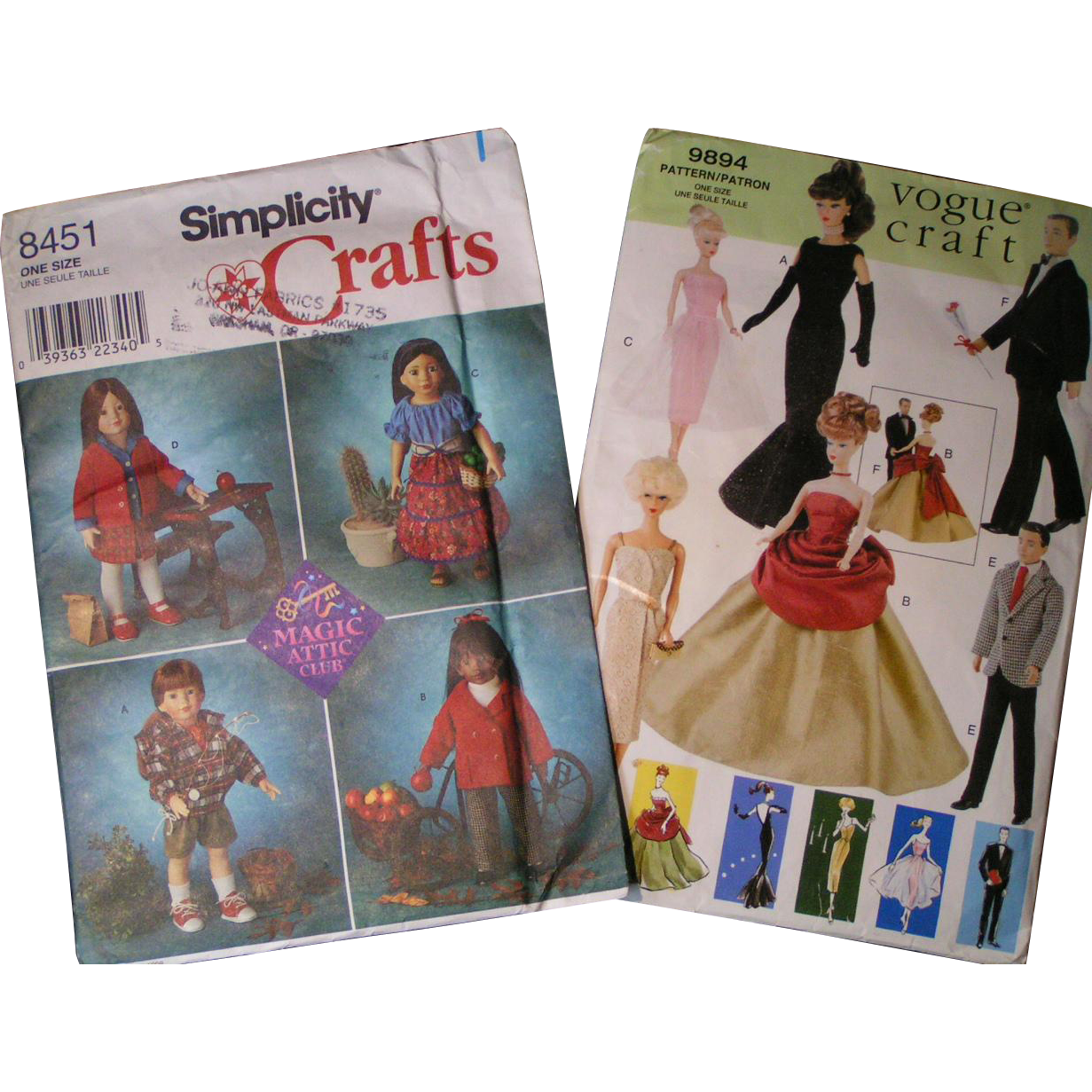 "Doll clothing patterns; Vogue Crafts 11.5"", Simplicity Crafts 18"""