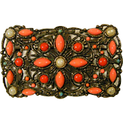 Pinks, Pearls and Jade Nouveau Brooch