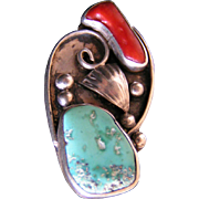 Turquoise, Carnelian and Silver Bohemian Ring