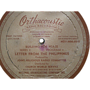 Orthacoustic Radio Recordings; 16 inch vinyl