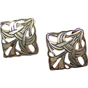 Open work Silver Pierced Earrings